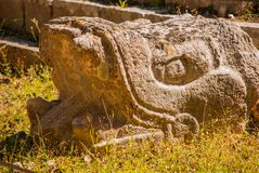 The sculpture of the Maya. Ancient Mayan city. Chichen-Itza, Mexico. Yucatan. The sculpture of the Maya. The head of the beast. Ancient Mayan city. Chichen-Itza stock photos
