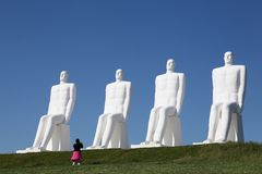 The sculpture `Men at sea` in Esbjerg, Denmark Stock Images