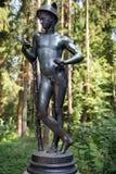 Sculpture Mercury, patron god of commerce, Pavlovsk Park. Bronze sculpture Mercury, patron god of financial gain, commerce, eloquence, Pavlovsk Park, Saint Stock Image