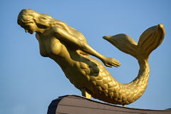 Sculpture of a mermaid. Closeup of a sculpture of mermaid in Skopje - the capital city of Macedonia stock photo