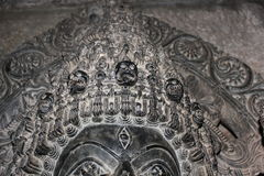 Sculpture with micro carved hallow skull at Hoysaleswara Temple Royalty Free Stock Photos