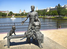 Sculpture of the miner`s family. Astrakhan. Russia. stock photo