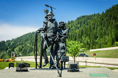 Sculpture of Miners family Royalty Free Stock Photo