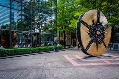 Sculpture and modern building in Uptown Charlotte, North Carolin. A Stock Photo