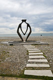 Sculpture. Modern sculpture on a sea shore in batumi royalty free stock image