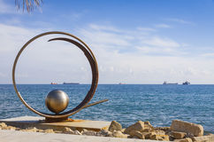 Sculpture in Molos Park at Promenade alley in Limassol, Cyprus Royalty Free Stock Photo