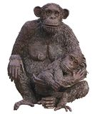 Sculpture. A monkey with a cub. stock images