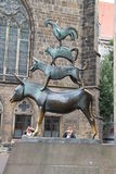 Sculpture - a monument to the Bremen musicians. Stock Images