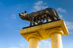 Sculpture mother wolf feeding Romulus Remus Lupa Capitolina Royalty Free Stock Image