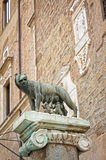 Sculpture of a mother-wolf feeding Romulus and Remus, Rome, Royalty Free Stock Photos