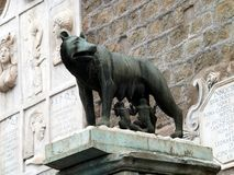 Sculpture of a mother-wolf feeding Romulus and Remus, Rome, Royalty Free Stock Photography