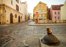 Sculpture of the Mouse with large ears sculptors S.Plotnikov and S.Yurkus performing desires on the cobbled street of the Old stock photos