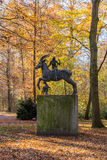 Sculpture of the mythical creature with horsewoman and dog Royalty Free Stock Photos