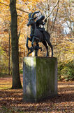 Sculpture of the mythical creature with horsewoman and dog Royalty Free Stock Photo