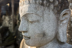 Sculpture of Mythical heroes and Budha Stock Images