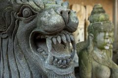 Sculpture of Mythical heroes and Budha Stock Photos