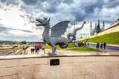 Sculpture of mythical serpent Zilant, the official symbol of Kazan royalty free stock photography