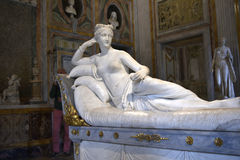 Sculpture of  Napoleon`s sister in the Galleria Borghese Rome Italy. The Borghese Collection is a collection of Roman sculptures, old masters and modern art Royalty Free Stock Image