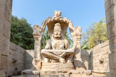 Sculpture of Narasimha monolith carved in-situ, Hampi royalty free stock images