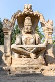 Sculpture of Narasimha monoliths carved in-situ, Hampi. Karnataka, India, Asia royalty free stock photo