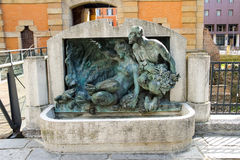 Sculpture near the ancient gate Galliera in Bologna. Royalty Free Stock Images