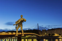 Sculpture near the bridge in Lyon, France Royalty Free Stock Photo