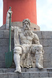 Sculpture near the rostral columns in St. Petersburg Royalty Free Stock Photo
