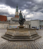 Sculpture of Neptun on the Old Market Square in Poznan Stock Images