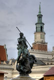 Sculpture of Neptun on the Old Market Square in Poznan Stock Photo