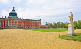Sculpture and New palace in Sanssouci Park in Potsdam Royalty Free Stock Photos