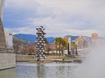 Sculpture next to The Guggenheim Museum Bilbao Stock Photo