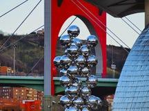 Sculpture next to The Guggenheim Museum Bilbao Stock Photos