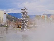 Sculpture next to The Guggenheim Museum Bilbao Royalty Free Stock Image