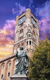 Sculpture of Nicolaus Copernicus in front of the Town Hall in To Royalty Free Stock Photography