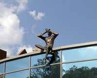 Sculpture Observer on the roof of contemporary building, Kiev, Ukraine. Royalty Free Stock Photography