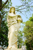 Sculpture Of Ancient Lady In The Garden. Royalty Free Stock Photography