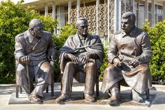 Free Sculpture Of Churchill, Roosevelt And Stalin Stock Image - 123767861