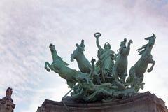 Sculpture Of Four Horses With Winged Genius, Quadriga Royalty Free Stock Photo