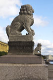 Sculpture Of Lions In Saint-Petersburg Stock Photography