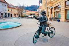 Free Sculpture Of Man Bicycle National Hall Celje Slovenia Stock Photos - 168318283