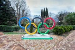 Sculpture Olympic Rings on Navaginskaya Street in Sochi. Russia Royalty Free Stock Images