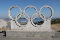 Sculpture olympique en anneaux, Portland, Dorset photo stock
