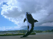 The sculpture of orca in the Vancouver. The sculpture of orca located downtown Vancouver Royalty Free Stock Images