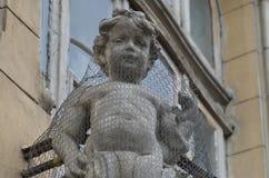 Sculpture ornementale en cupidon, la maison de Mita Biciclista, Bucarest Photographie stock libre de droits