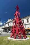 Sculpture outside La Spezia Railway Station, Le Spezia, Italy, 20th May 2016 royalty free stock images