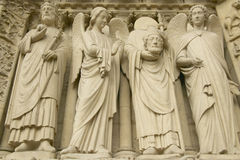 Sculpture outside the Notre Dame Cathedral, Paris, France Royalty Free Stock Photo