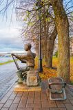 Sculpture of the painter boy at the embankment of the Volkhov river in Veliky Novgorod, Russia. VELIKY NOVGOROD, RUSSIA -OCTOBER 17, 2017. Sculpture of the Royalty Free Stock Image