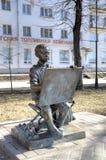 Sculpture of Painting Boy. Veliky Novgorod, Russia Stock Image
