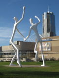 Sculpture Park Denver. Sculpture Park is home to the Dancers a landmark sculpture by the artist Jonathan Borofsky. The towering figures are a familiar landmark Royalty Free Stock Photos