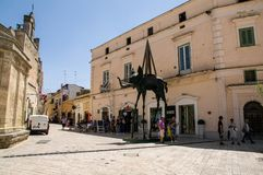 Italy. Matera. El Elefante Espacial, a monumental bronze work by the Catalan surrealist artist Salvador Dalí. The sculpture is part of the temporary stock photo